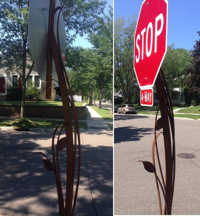 decorative stop sign post