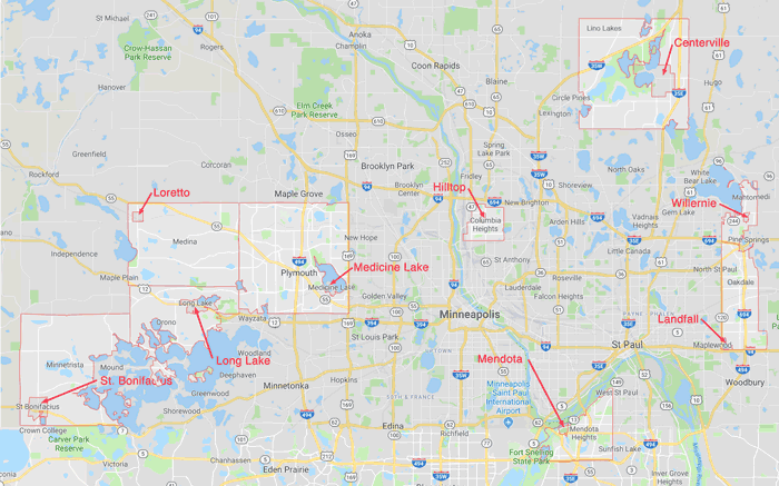 Nine doughnut cities in the Twin Cities metro area